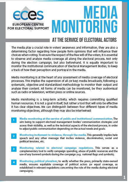 Resume Media Monitoring Eces European Centre For Electoral Support